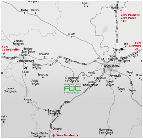 Plan détaillé de l'accès à Chateauneuf-sur-Charente